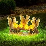 MIXXIDEA Garden Squirrel Statue Solar Waterproof Figurines Decor for Outside Outdoor Garden Art Decorations for Lawn,Patio,Ba