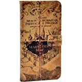 Hogwarts Marauder's Map Vintage Old Pattern Slim Wallet Card Flip Stand Leather Pouch Case Cover For Apple iphone 5 iphone 5S
