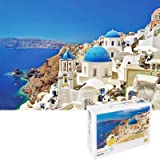 OZMI Jigsaw Puzzles 1000 Pieces for Adults and Kids, Santorini Church Adult Jigsaw Puzzles, Landscape Bay Castle Jigsaw Puzzl