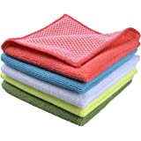 "Sinland 5 Color Assorted Microfiber Dish Cloth Best Kitchen Cloths Cleaning Cloths with Poly Scour Side 12""x12"" 5 Pack (Pink+"