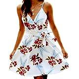 POGTMM Women's Summer Floral Print Dress Sexy V Neck Sleeveless Mini Dress Spaghetti Strap Swing Skater Dresses with Belt