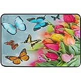 Spring Butterfly Doormat Indoor Bath Mat 23.6 x 15.7 inch Tulip Flower Floral Door Mats Floor Mat Welcome Doormats for Kitche