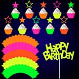 41 Pieces Glow Neon Birthday Party Decorations, Includes Yellow Happy Birthday Cake Topper Neon Cupcake Wrappers and Hollowed