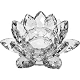 Amlong Crystal Clear Crystal Lotus Tealight Candle Holder 4.5 in Gift Box