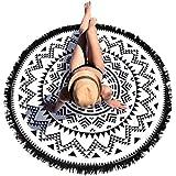 Lutents タッセル付き ラウンドビーチマット サークルマット ビーチマット 円形 丸い ボヘミアン プールパーティ…
