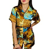 V.H.O. Funky Hawaiian Blouse Women Short-Sleeve Front-Pocket Surf Beach Multiple Colors