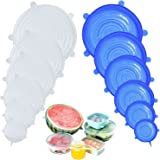 DigHealth Silicone Stretch Lids, 12 Pack of Silicone Food Covers, BPA Free and Expandable to Fit Various Shape of Containers,