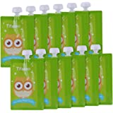 12 Pack 7 oz Owl Reusable Baby Food Squeeze Storage Pouches for Homemade Organic Baby, Toddlers Food - Easy to Fill & Clean F