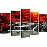 Canvas Prints 5 Piece Wall Art Home Decoration Painting Printed on canvas Red Waterfall (Red)