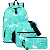Unicorn Backpack for Girls, Dreampark School Bookbags for Teen Girls and Boys Laptop Bag with Shoulder Bags (Green)