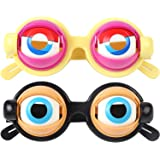 CCINEE クレイジーアイズ crazy eyes 面白いメガネ コスプレ メガネ サングラス 澄んだ瞳 パーティーグッズ 衣装 仮装キッズ おもしろグッズ いたずらおもちゃ (2pcセット)