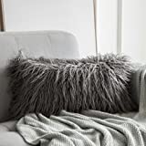 MIULEE Decorative New Luxury Series Style Grey Faux Fur Throw Pillow Case Cushion Cover for Sofa Bedroom Car 12 x 20 Inch 30