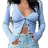 Susupeng Women Deep V Neck Long Sleeve Cardigan Button Down T-Shirt Cotton Ribbed Slim Crop Tops
