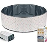 XDEMODA Ball Pit for Toddlers - Foldable & Portable Large Fabric Ball pits for Kids and Babies. Ocean, Colored Circles, Blue