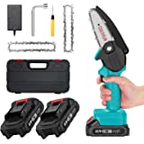 Mini ChainSaw with 2 Battery, Seesii 4-Inch Cordless Electric Pruning Chain Saw with Replacement Chain, One-Handed Portable C