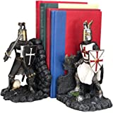 "Ebros Black and White Medieval Crusader Knight Bookends Statue 7.5"" Tall Set Suit of Armor Swordsman Knights of The Cross Age"