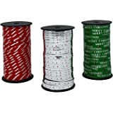 Celebrate A Holiday Christmas Curling Ribbon 3 Pack, Green, Metallic Silver, Red & White Stripes, Christmas Holiday Party Cra