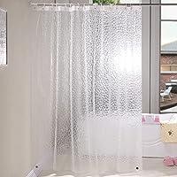 KaiYiシャワーカーテン 90x180cm半透明 バスカーテン 北欧 ユニットバスカーテン 防カビ防水 間仕切り リン…