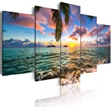 Ocean Beach Wall Art Canvas Print Sea Picture Painting Home Living Room Bedroom Office Decor Sunset (Over Size 60inch x 30inc