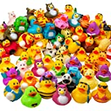 Kicko Assorted Rubber Duckies - 100 PC Bath Floater - Baby Showers Accessories - Bulk Ducks for Kids - Easter Party, Hallowee