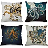 Pack of 4,Ink Painting Marine Octopus Squid Sea Animals Cotton Linen Decorative Throw Pillow Case Personalized Cushion Cover