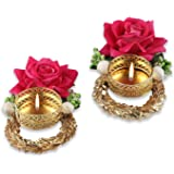 "Hathkaam 5"" 2 PC Set Rose with Silver Golden Ring Metal Diya Decorated with Fabric Rose Flower for Diwali Decoration. HKDT012"