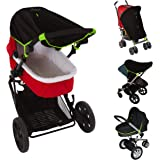 SnoozeShade Original (0-6m) | Universal Fit Baby Pram Sun Shade | Blocks 99% UV | Sleep Aid and Blackout Blind for Strollers