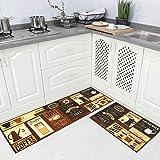 "Carvapet 2 Piece Kitchen Rug Set Non-Slip Backing Mat Throw Rug for Kitchen Doormat Runner Rug Set,Cafe Design (17""x48""+17""x2"