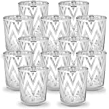 """Just Artifacts GlassVotiveCandle Holder 2.75""""H(12pcs,Chevron Silver) - Mercury Glass Votive Tealight Candle Holders for W"""