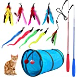 M JJYPET Retractable Cat Toy Wand,12 Packs Interactive Cat Feather Toy,9 Assorted Teaser Refills with Bell for Cat,Kitten