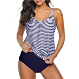 Yonique Floral Bandeau Tankini Two Piece Swimsuits for Women Flyaway Trimmer Top with Sport Boyleg