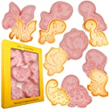 Dinosaur Cookie Cutters and Stamper, 3D Dinosaur Biscuit Embossing Fondant Baking Tool (Pack of 12)