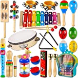 LOOIKOOS Toddler Musical Instruments,Wooden Percussion Instruments Toy for Kids Baby Preschool Educational Musical Toys Set f