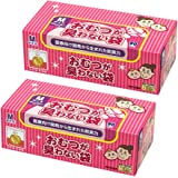 驚異の防臭袋 BOS (ボス) おむつが臭わない袋 2個セット 赤ちゃん用 おむつ 処理袋 【袋カラー:ピンク】 (Mサイズ 90枚入)