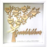 Tasse Verre Grandchildren Shadow Box Kit - Family Tree Grandparents Grandma Grandpa with 7 Hearts and 40 Gems. Grandparents,