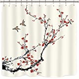 Riyidecor Blossom Cherry Buds Shower Curtain Panel Weighted Hem Branches Asian Style Japanese Chinese Painting Birds Decor Fa