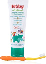 Nuby All Natural Toddler Toothpaste with Citroganix with Toothbrush (Orange/Yellow)