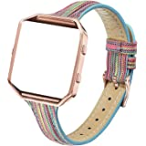Amcute Slim Fabric Leather Bands Compatible with Fitbit Blaze, Woven Accessories Strap Wristband Rose Gold Buckle Frame Women
