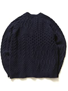 Crazy Pattern Aran Sweater 11-15-0537-048: Navy
