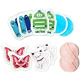 Kids Ice Pack(10-Pack) for Boo Boos Injuries by WORLD-BIO, Reusable Children's Fun Cartoon Pack Pain Relieve for Teething, He