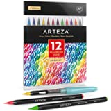 ARTEZA Real Brush Pens, 12 Paint Markers with Flexible Brush Tips, Professional Watercolor Pens for Painting, Drawing, Colori