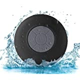 Sudroid Portable Waterproof Shower Speaker Bluetooth 3.0 with Built-in Mic Powerful for Pool Boat Beach Hiking Camping (Black