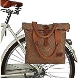 TOURBON Canvas and Leather Women's Shoulder Tote Roll-top Clip Type Bike Panniers Bag