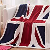 House British Union Jack Fleece Blanket Soft Sherpa Throw Blanket Lightweight Cozy Warm Blanket for Couch Bed Chair Office So