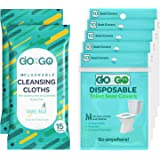 Go on the Go Disposable Toilet Seat Covers for Travel - 50 Toilet Seat Covers Plus 30 Free Flushable Wet Wipes