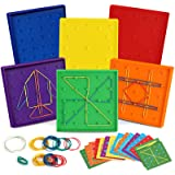 6 Pack Double-Sided Geoboard Mathematical Manipulative Material Array Block Geo Board, Educational Toy for Kids with Rubber B