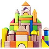 Migargle Wooden Building Blocks Set for Kids - Rainbow Stacker Stacking Game Construction Toys Set Preschool Colorful Learnin