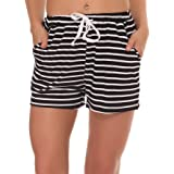 Fayejove Women Solid and Striped Sleep Shorts Stretchy Cotton Pajama Shorts