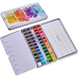 MEEDEN Watercolor Paint Set, 48 Vibrant Colors in Pocket Box, Watercolor Paint Palette with Metal Ring and Watercolor Brush,