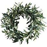 """HO2NLE 18.5"""" Artificial Olive Wreath for Front Door Decor Spring and Summer Faux Silk Garland Home Office Wall Window Wedding"""